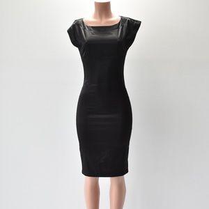Zara Basic Black Midi Dress Size Small Satin Feel